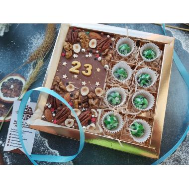 """Набор """"23 февраля"""", 8 корпусных конфет камуфляж и плитка шоколада"""