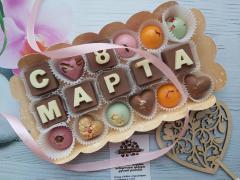 """Шоколадный набор буквы """"с 8 марта"""" и конфеты"""