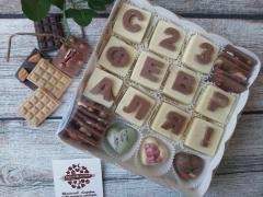 """Набор """"23 февраля"""", конфеты в виде сердец и мини плитки шоколада"""
